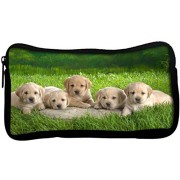 Snoogg Puppies Poly Canvas Student Pen Pencil Case Coin Purse Utility Pouch Cosmetic Makeup Bag