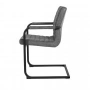 [en.casa]® Étkezőszék Anita design szék 6 darabos szett karfával 86,5 x 60 cm alcantara műbőr szürke