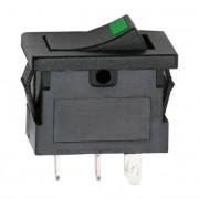 Kapcsoló billenő LED-es 2 állású 12V 15A 09027ZO zöld