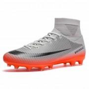 Hoge top antislip Wearable en comfortabele voetbalschoenen Soccer cleats voor mannen schoenmaat: 10 (lange spikes grijs)