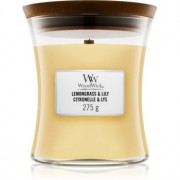 Woodwick Lemongrass & Lily lumânare parfumată cu fitil din lemn 275 g