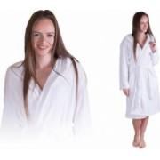 Halat dama de baie cu buzunare gluga si maneca lunga culoare Alb Marime L-XL