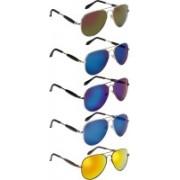 NuVew Aviator Sunglasses(Blue, Golden, Green, Green, Blue, Pink)