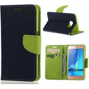 Generic Wallet Flip Case Cover for Samsung Galaxy J7 Prime (Green and Blue)