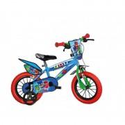 Bicicleta pentru copii Eroii in pijama, 2 frane, spite metalice, 16 inch, roti ajutatoare