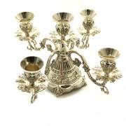 Sfesnic argintat cu 5 brate in stil Victorian