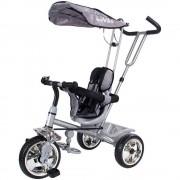 Tricicleta Super Trike 4 in 1 cu bara de protectie,control parental, centura de siguranta - Sun Baby - Gri