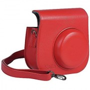 Katia Instant Camera PU Leather Case with Shoulder Strap and Pocket for Fujifilm Instax Mini 8 Instant Film Camera (Red)