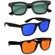 SRPM Wayfarer Sunglasses(Blue, Orange, Green)
