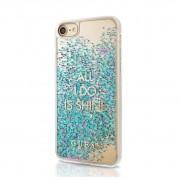 Guess Glitter Hard Case All I Do Is Shine - дизайнерски кейс с висока защита за Apple iPhone X (син)
