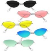 Elligator Cat-eye, Oval, Round Sunglasses(Pink, Yellow, Blue, Green, Black)