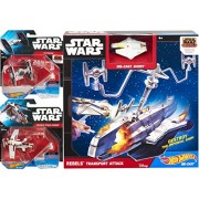 Hot Wheels Star Wars Starship Rebels Transport Attack Play Set & Tie Fighter Rebels + Republic Attack GunShip Set