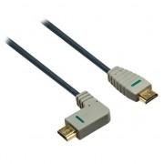 Bandridge HDMI 1.4, pozlacené konektory, pravé ohnutí 90°, HDMI A konektor - HDMI A konektor, 2m
