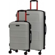 IT Luggage Expressway Polycarbonate Hardsided Suitcase Set | Large & Cabin Lightweight Travel Bags | 8 Wheel Trolley |16-2337-08| Set of 2 Expandable Check-in Luggage - 31 inch(Grey)