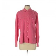 Liz Claiborne Long Sleeve Button Down Shirt: Pink Solid Tops - Size Small