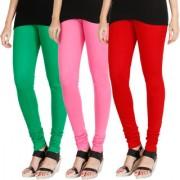 HRINKAR LIGHT GREEN LIGHT PINK RED Soft Cotton Lycra Plain Salwar leggings combo Pack of 3 Size - L XL XXL - HLGCMB0589-L