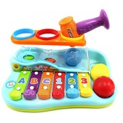 Power Trc Rainbow Xylophone Piano Pounding Bench For Kids With Balls And Hammer