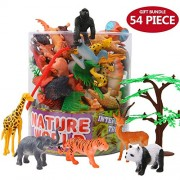 Animals Figure,54 Piece Mini Jungle Animals Toys Set With Gift Box,Zoo World Realistic Wild Animal Learning Resource Party Favors Toys For Boys Kids Toddlers Forest Small Farm Animals Toys Playset