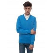 Gant Pullover collo a V Azzurro Cotone Uomo