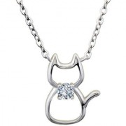 Silver Shine 92.5 Sterling Silver Mini Cat Silver Necklace for Women Girls