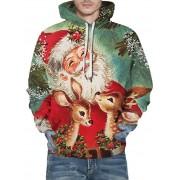 Rosegal Sweat à Capuche Décontracté Père Noël et Cerf Imprimés avec Poche en Avant XL
