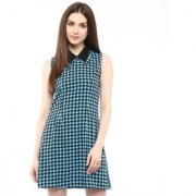 Abiti Bella Women's Blue Black houndstooth collar dress