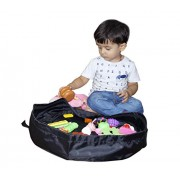 Polyester Toy Storage Bag for Kids Play Bag Mat Organizer, 20 Inch/1.6 Feet, Black