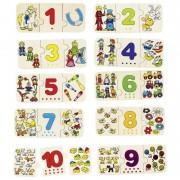 Puzzle lemn cu autocorectie invata Numerele Goki, 10 puzzle