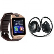 Zemini DZ09 Smart Watch and Mini 503 Bluetooth Headphone for SAMSUNG GALAXY MEGA PLUS(DZ09 Smart Watch With 4G Sim Card Memory Card| Mini 503 Bluetooth Headphone)
