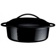 Oala din fonta, ovala, neagra, 28 cm, 2 litri