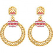 Sukai Jewels Pink Pearl Royal Look Gold Plated Zinc Cz AD Studded Dangle and Drop Earring for Women & Girls [SER205G]