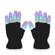 #1 Premium Led Lighting Gloves, Flashing Fingers Emazing Lights, Rave Gloves, Colorful Party Dance Gloves, Birthday, Edm, Disco, Dubstep Party, 6 Light Flashing Modes (Black Lighting Fingers)
