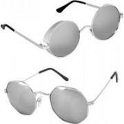 Rich Club Round Sunglasses(Silver, Silver)