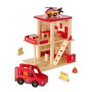 VERTBAUDET Quartel de bombeiros em madeira e acessórios vermelho medio liso com motivo