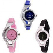 R P S fashion new looked fancy combo pack of 3 girl watch
