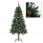 vidaXL Изкуствено коледно дърво с шишарки и бели връхчета, 150 см