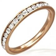 Rózsa arany színű nemesacél gyűrű, cirkónia kristályokkal
