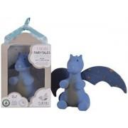 Tikiri Fairytales: DRAAK Midnight met blauwe vleugels 13cm, in natuurlijk rubber en katoen, met belletje, in vensterdoos, 0+