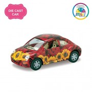 Smiles Creation Kinsmart 1:36 Scale Volkswagen New Beetle with Dashing Exterior Toy - Floral, Red (5-inch)