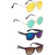 Elligator Aviator, Round, Wayfarer Sunglasses(Yellow, Green, Blue, Brown)