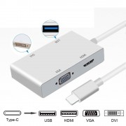 Type C to HDMI Adapter,Weton USB C 3.1 to HDMI VGA DVI USB 3.0 Multi Video HUB Converter,Plug and Play,Multi Monitors Adapter for MacBook/Chromebook P