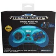 Controller Wireless Sega Mega Drive Blue 8 Button Arcade Pad