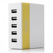 REMAX 1A / 2.1A / 2.4A 5 Puertos USB Cargador - Blanco + Amarillo (US Plugs)