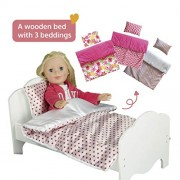 "Olivia's Little World - Little Princess 18"""" Doll Furniture - Single Bed and 3 Bedding Set - Polka Dots / Summer Flowers / Modern Chevron"
