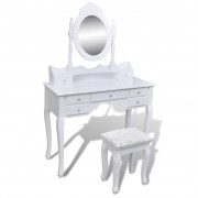 vidaXL Coiffeuse avec miroir et tabouret 7 tiroirs Blanc