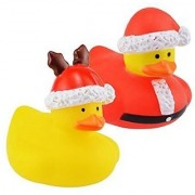 Christmas Santa Rubber Ducks Baby Bath Tub Toys 2-pc Set