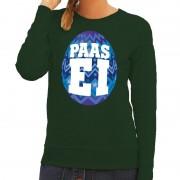 Bellatio Decorations Pasen sweater groen met blauw paasei voor dames XS - Feesttruien