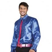 Merkloos Voordelige blauwe rouche blouse