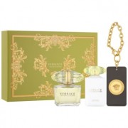 Versace Yellow Diamond lote de regalo ХІ eau de toilette 90 ml + leche corporal 100 ml + etiqueta para maleta