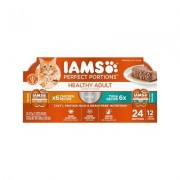 Iams Perfect Portions Healthy Adult Multipack Chicken & Tuna Recipe Pate Grain-Free Cat Food Trays, 2.6-oz, case of 12 twin-packs